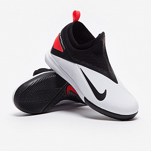 Детские футзалки Nike Phantom Vsn 2 Academy DF IC - White/Laser Crimson/Black