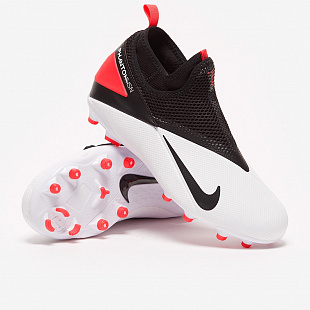 Детские бутсы Nike Phantom VSN II Elite DF FG - White/Black/Laser Crimson