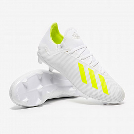 Бутсы  adidas X 18.3 FG - White/Solar Yellow