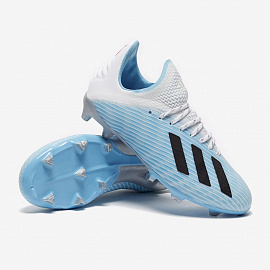 Детские бутсы Adidas X 19.1 FG - Bright Cyan/Core Black/Pink