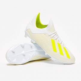 Детские бутсы Adidas X 18.1 FG - White/Solar Yellow