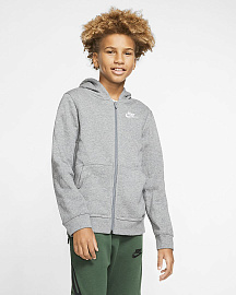 Детская толстовка Nike Sportswear Club FZ Hoodie - Carbon Heather/Smoke Grey/White