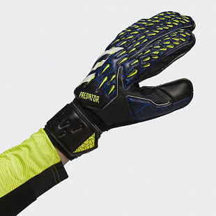 Вратарские перчатки Predator Match Fingersave - Black / Royal Blue / Solar Yellow