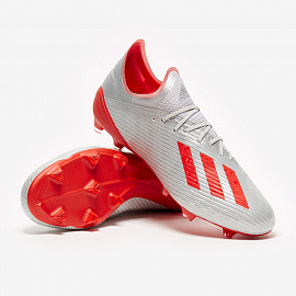 Бутсы adidas X 19.1 FG - Silver Metallic/Hi-Res Red/White