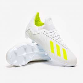 Детские бутсы Adidas X 18.3 FG - White/Solar Yellow