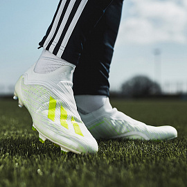 Бутсы  adidas X 18+ FG - White/Solar Yellow/Off White
