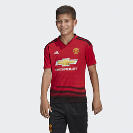 Футболка детская adidas Manchester United  2018/19 Home Youths Shirt - Red/Black