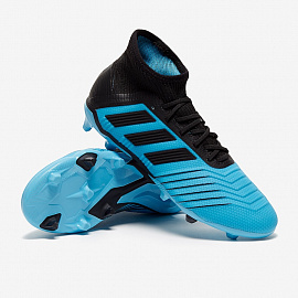 Детские бутсы Adidas Predator 19.1 FG - Bright Cyan/Core Black/Yellow