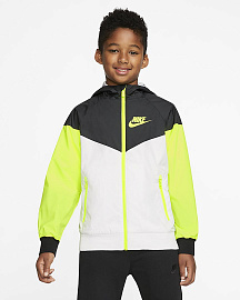 Детская куртка Nike Sportswear Windrunner Older Jacket - White/Black/Volt/Volt