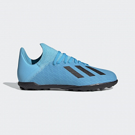 Детские шиповки Adidas X 19.3 TF - Bright Cyan/Core Black/Yellow
